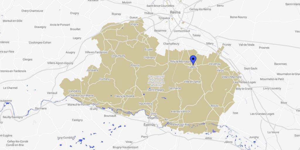 Eine Karte mit dem Standort von Ludes.